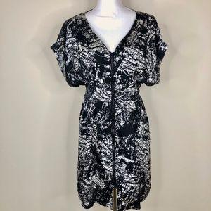 YA Los Angeles  Zip Front Mini Dress Black White